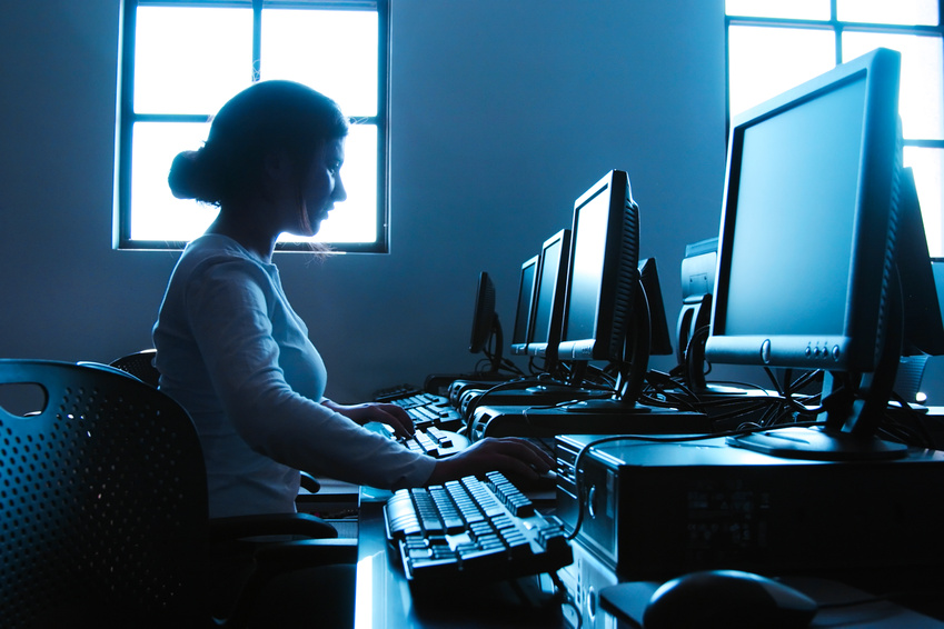 young woman in computer lab